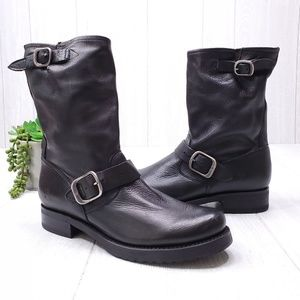 Frye Moto Leather Double Buckle Mid Calf Boots 8